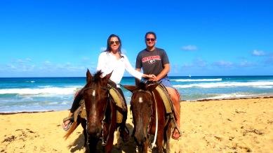 Honeymoon in Punta Cana - Deidra and B on horses