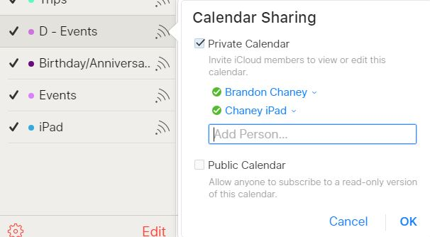 Sharing calendar settings