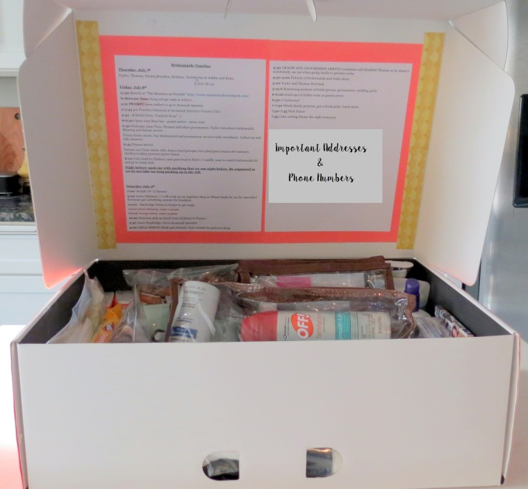 DIY - Wedding Emergency Kit - Inside of Box
