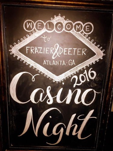 Large Framed Chalkboard - F&D Casino Night
