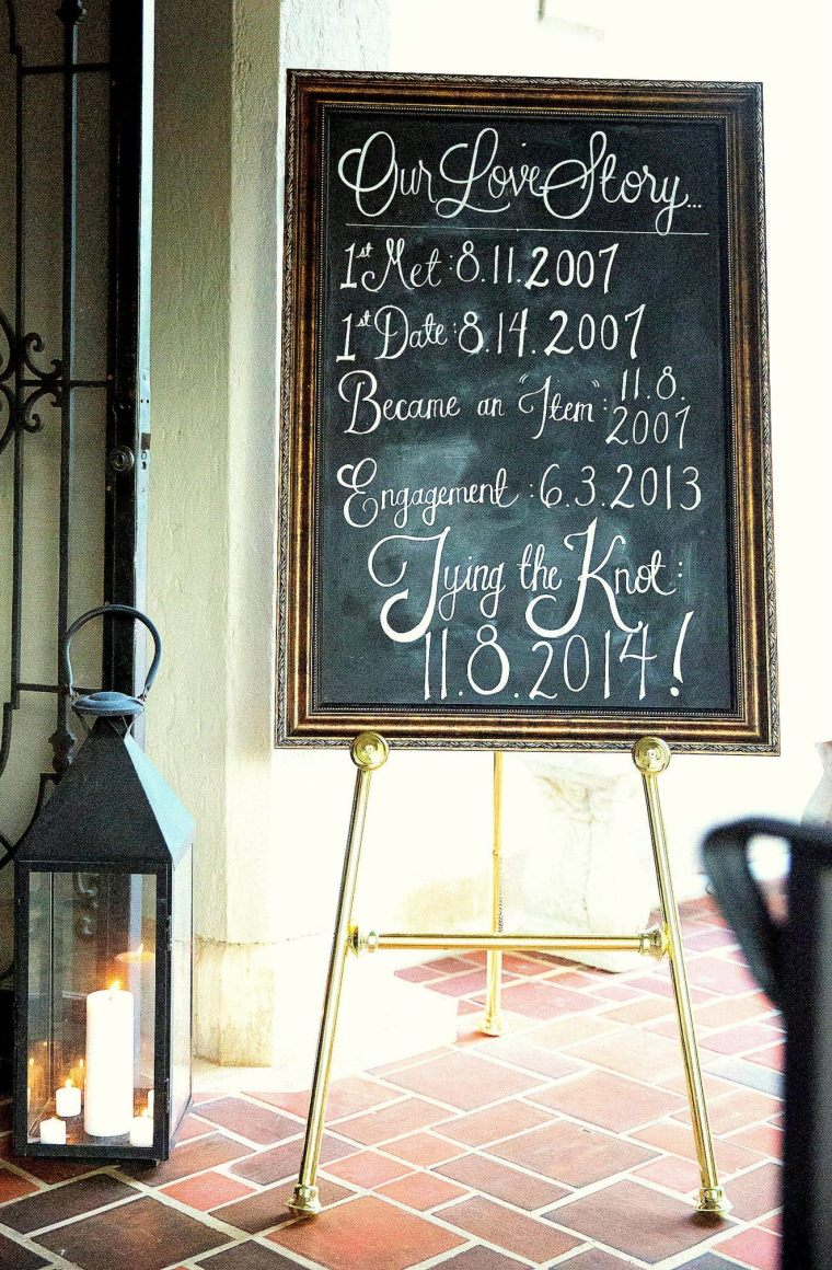 Large Framed Chalkboard - Our Love Story - Wedding Version