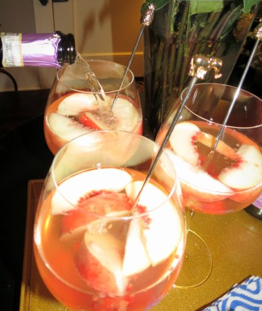 Peach Birthday Sangria - Add prosecco