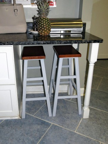 Saddle Stool Makeover - Under countertop